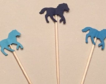 12 Blue Horse Cupcake Toppers Baby Cupcake Toppers Pony Cupcake Toppers Baby Shower Cupcake Toppers Birthday Cupcake Toppers Blue