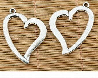 4pcs tibetan silver color heart shaped frame design charms EF1482