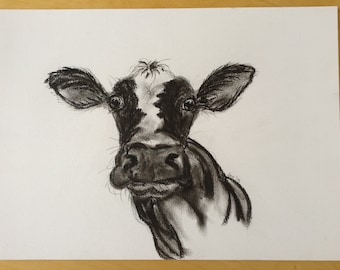 Moo! Drawing of cow in pen and ink and charcoal. Original.