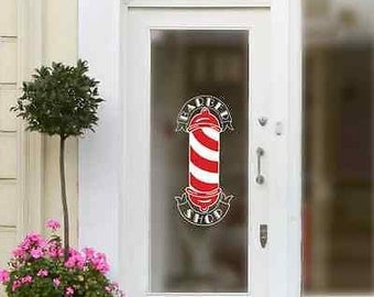 Barbers Pole Shop Vinyl Sign Hairdressers Hair Salon Window Lettering Sticker