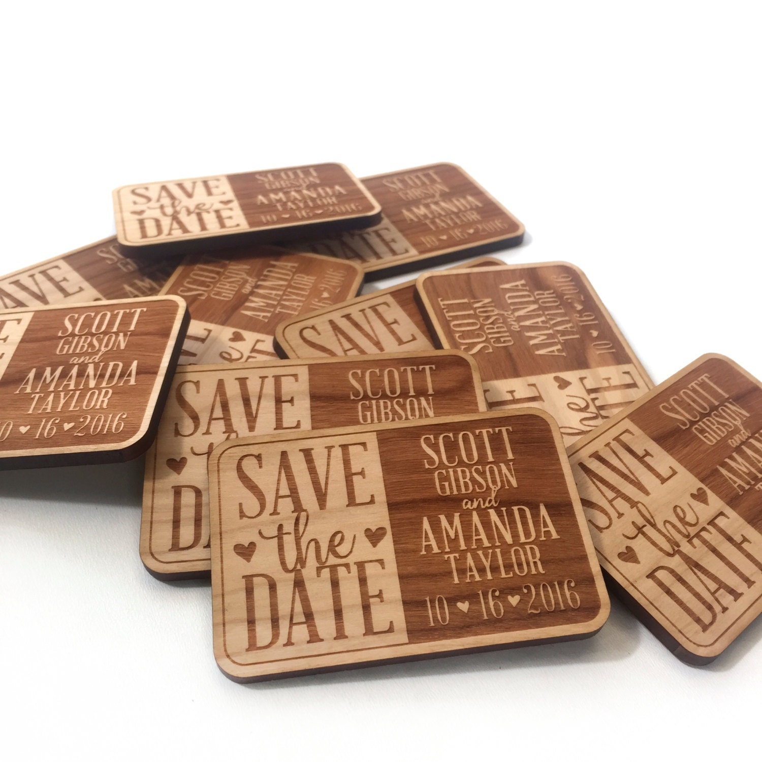 Custom Save the Date wood Fridge Magnets 2 inch x 3 inch