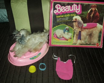 1979 Matel 1018 Beauty, Barbie doll's dog, dog bed, bowl, collar, and cape w/ Original Box