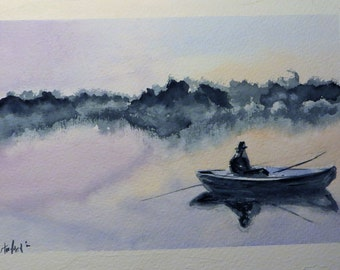 Original Watercolor - Fishing on boat