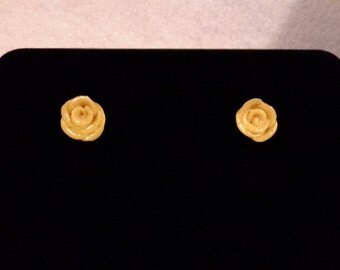 Yellow polymer clay rose earrings