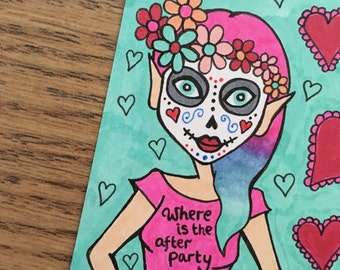Sugarskull girl sketchcard - where is the after party? Original art / creepycute / candyskull / atc / aceo / halloween art / day of the dead