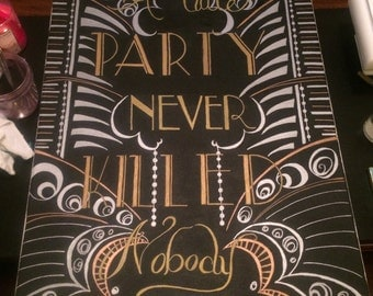 Roaring Twenties Flapper Chalkboard Art