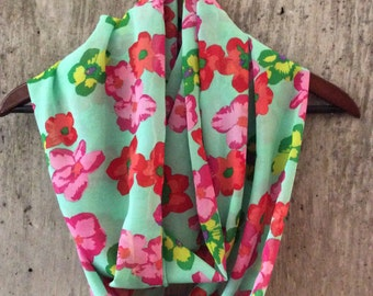 Spring green floral infinity scarf