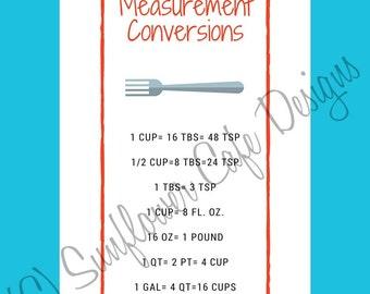 Measurement Conversions Printable, Printable PDF, Cooking Measurement Conversions, Baking Measurement Conversions, Foodie Printable,