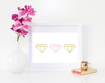 DIGITAL DOWNLOAD, Diamonds wall decor, Diamonds are forever, Diamonds art, Gold and pink diamonds