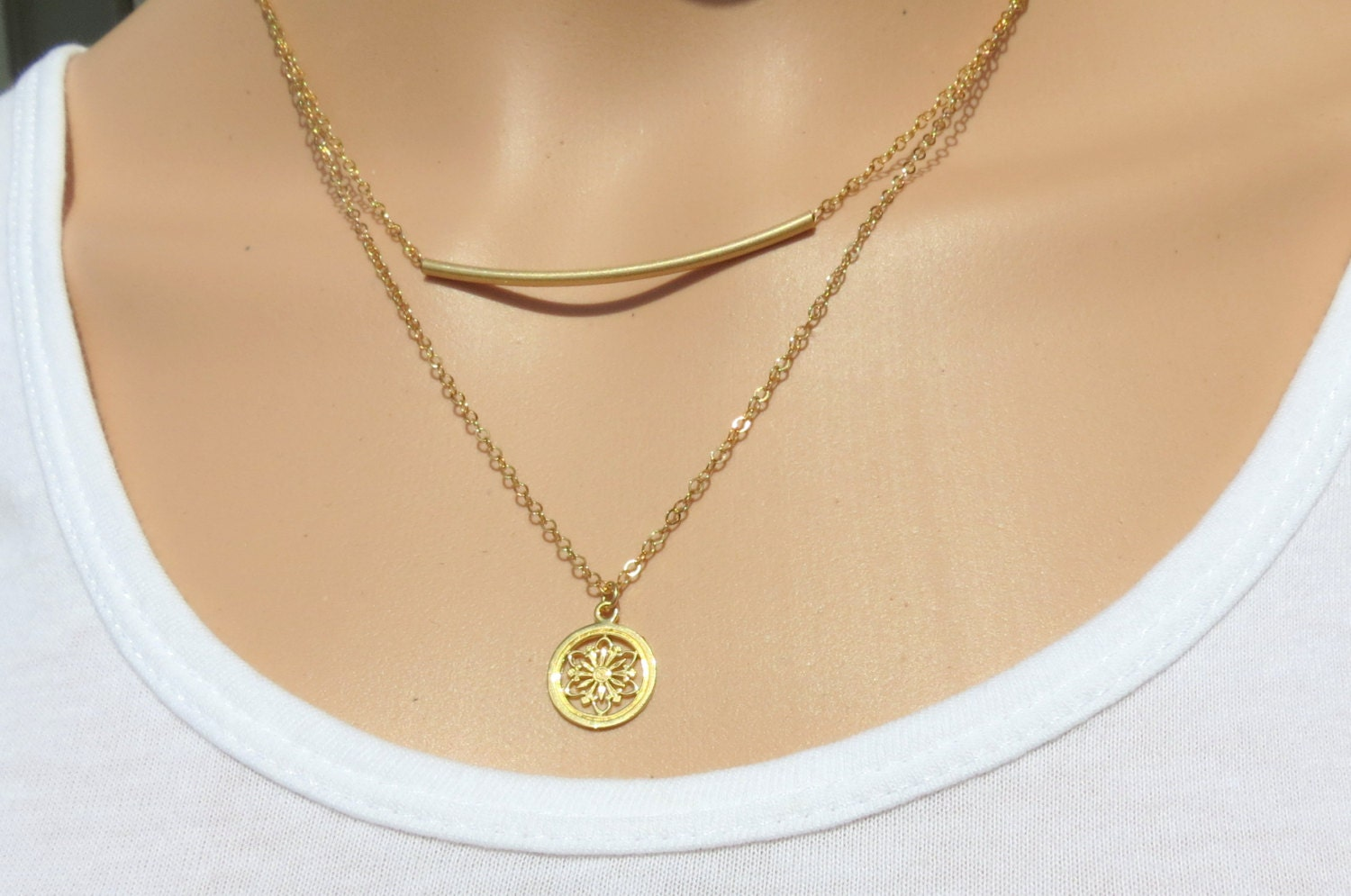 Dainty Goldfilled Mandala Necklace Goldfilled Necklace