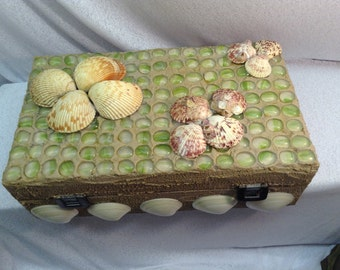 Sand and Sea,  Memorie Box. With sea shells, and a sand exterior.  Green half marbles.  Wine box.