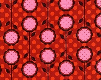 """SALE Michael Miller Cottons  """"Andalucia"""" Mod Blooms in Fire Red by Patty Young BTY"""