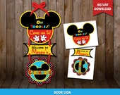 Sale - 80% OFF Mickey Mouse Clubhouse birthday Door Sign, Mickey Mouse birthday Welcome sign, Mickey Mouse Party, Mickey Mouse