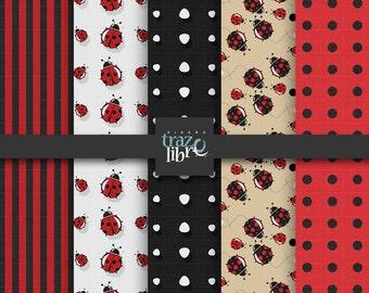 Digital textures: LADYBUG PATTERNS | digital paper | Backgrounds | Instant Download | ladybug digital | Black and Red | scrapbooks