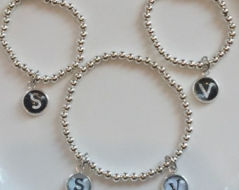 HandmadeBeadbracelet mother daughter matching with Initials. 4mm beads Stretch Bracelet MothersDay Birthday Lootbags