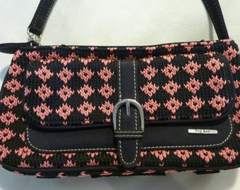 Vintage Purse - The Sak Crochet Purse - Pretty in Pink and Black - Can be a Wristlet or Handbag - Gift For Her -