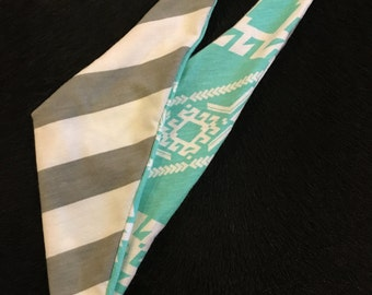 White/grey striped and turquoise Aztec baby bandana bib