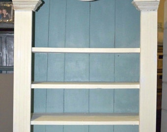 SOLD****PRICE REDUCED White Bookcase with 4 shelves inside - Rustic Vintage Shabby Chic