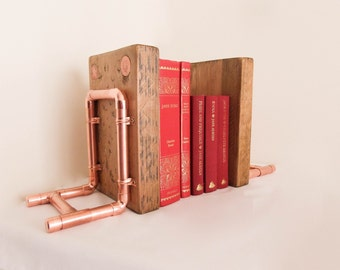 Book Ends, Bookends, Wooden Book Ends, Copper Book Ends, Book Shelf, Wedding Gift, Books Fathers Day, Copper Anniversary, 7th Wedding, Read