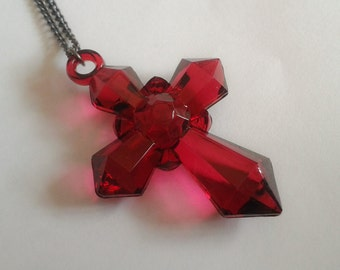 Red Cross pendant necklace. Lolita. Elegant. Gothic. Brand New. Handmade.