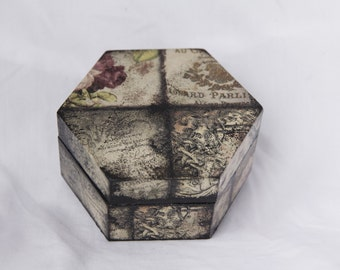Floral Vintage Style Wooden Box