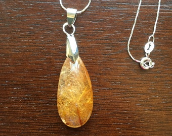 """Rutilated Quartz Pendant Necklace, Golden, Amber colored, Quartz Pendant with 18"""" Sterling Silver Chain, Free Shipping"""