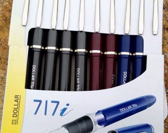 10x Dollar Fountain Pen 717i Classic Style ( Pack of 10) (Black/Blue/Red)