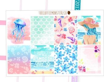 Last Summer (June fullboxes) Hand Painted Erin Condren Stickers