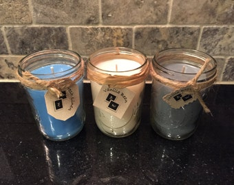 6 oz Mason Jar Soy Blend Wax Candles - Pick your Scent and Color