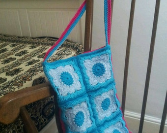 Crocheted squares bag.