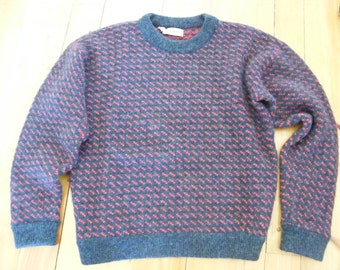Rare Color Vintage 80s LL BEAN Gray & Red Birdseye Wool Sweater Size M Norway