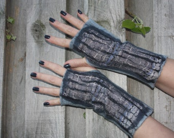 Hand made felted mittens, fingerless gloves, unique design, arm warmers