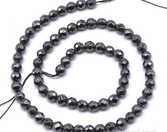 Hematite beads, 6mm round faceted, natural black gem stone beads, shinning hematite gemstone, semi precious stone beads strand, HMT1020
