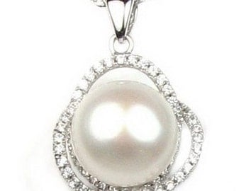White pearl pendant, bling crystal pendant, 925 sterling silver freshwater real pearl pendant, wedding pearl necklace, 11-12mm, F2840-WP