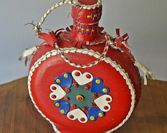 Bohemian Folk Art Flask / Bottle, Red Leather Flask / Canteen
