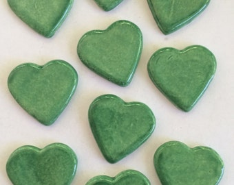 10 Handcrafted Jade Green Ceramic Heart Tiles Can Be Used In Mosaics And Other Mixed Media Art