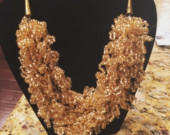 Gold Beaded Crochet Necklace