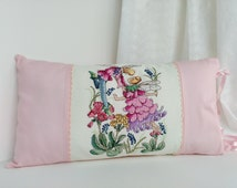 Nursery pillow, Embroidered baby pillow, Decorative pillow, Completed cross stitch, Embroidered decor, Baby girl pillow, Cross stitch pillow