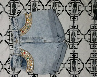 Bedazzled Rhinestone denim shorts