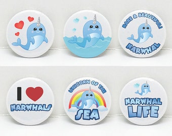 """Narwhal Love Set of 6   1"""" pinback button  Pin Badge Button for Jacket Shawl Scarf  Handmade  Original Art   Made in Canada with Love   NW07"""