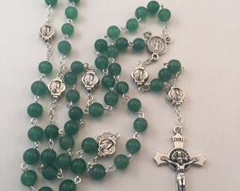 Our Lady of Lourdes Green Aventurine Rosary