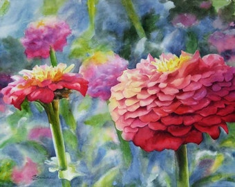 """Zinnias floral 12x16"""" giclee print from original watercolor painting pink flowers"""
