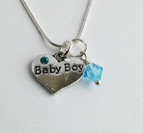 Baby boy gifts jewelry : Baby boy heart charm necklace silver jewelry by