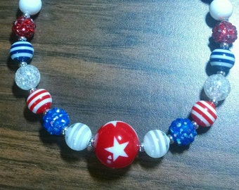 Mini Bubblegum Necklace.  Red, White, and Blue.  4th of July