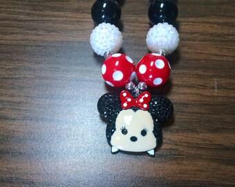 Minnie Mouse Tsum Tsum Disney Inspired Toddler Bubblegum Necklace