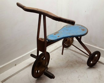 Children's Tricycle Push Pedal Bike 1960's Rustic