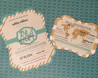 Destination Beach Wedding Invitation Handmade