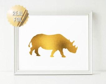 Rhino Art - Rhinoceros Art - Real Gold Foil Print - Animal Poster - Childrens Art - Wildlife Art Print - Nature Poster - Safari Art
