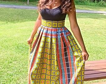 African print long skirt