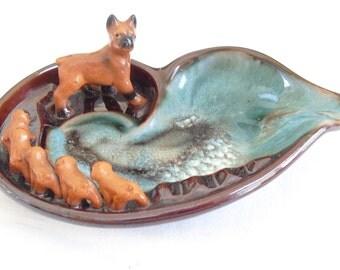 Vintage Tilso Bull Dog Ashtray, Brown and Green, 5 Bull Dog Puppies, Cigarette Holder, Sweet Ceramic Animal Ashtray, Red Pottery Ashtray